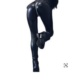 COQUETTE Wet Look PVC Leggings w/ Zipper in EUC